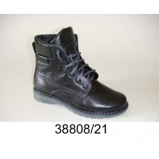 Kids' black leather combat warm boots, model 38808-21