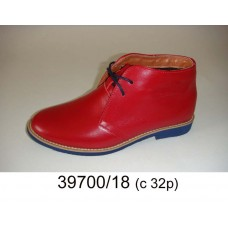 Kids' red leather comfort boots, model 39700-18