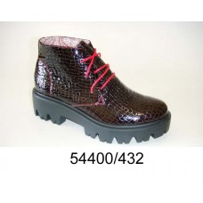 Women's brown-wine patent leather boots, model 54400-432