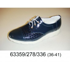 Women's dark blue leather shoes, model 63359-278-336